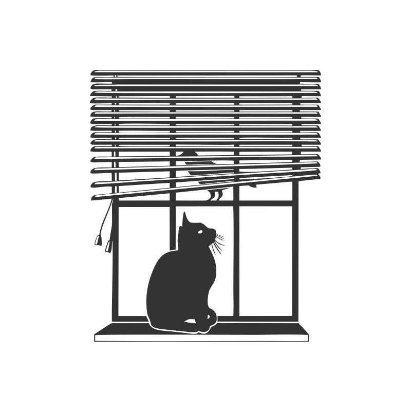 Macska ül az ablakban falmatrica