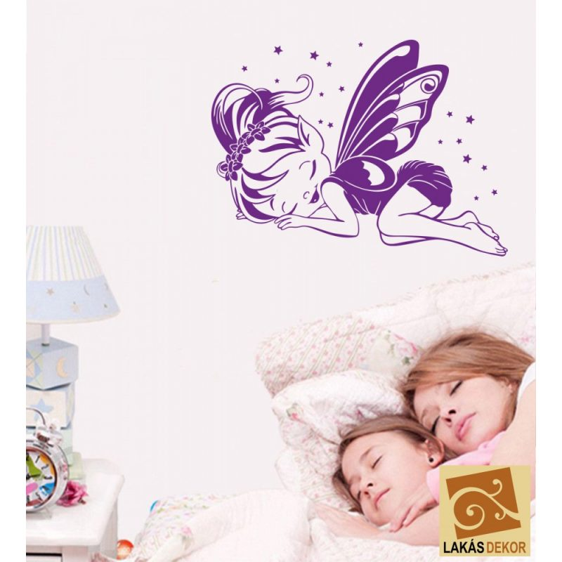Alvó pillangó lány gyerekszoba falmatrica