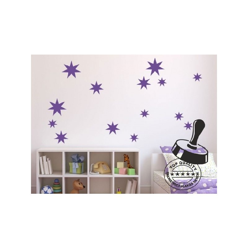 Csillag garnitúra 7-ágú 23 db-os gyerekszoba falmatrica