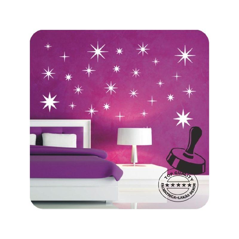 Csillag garnitúra 28 db-os gyerekszoba falmatrica