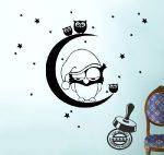 Bagoly és bagolykák holdon gyerekszoba falmatrica