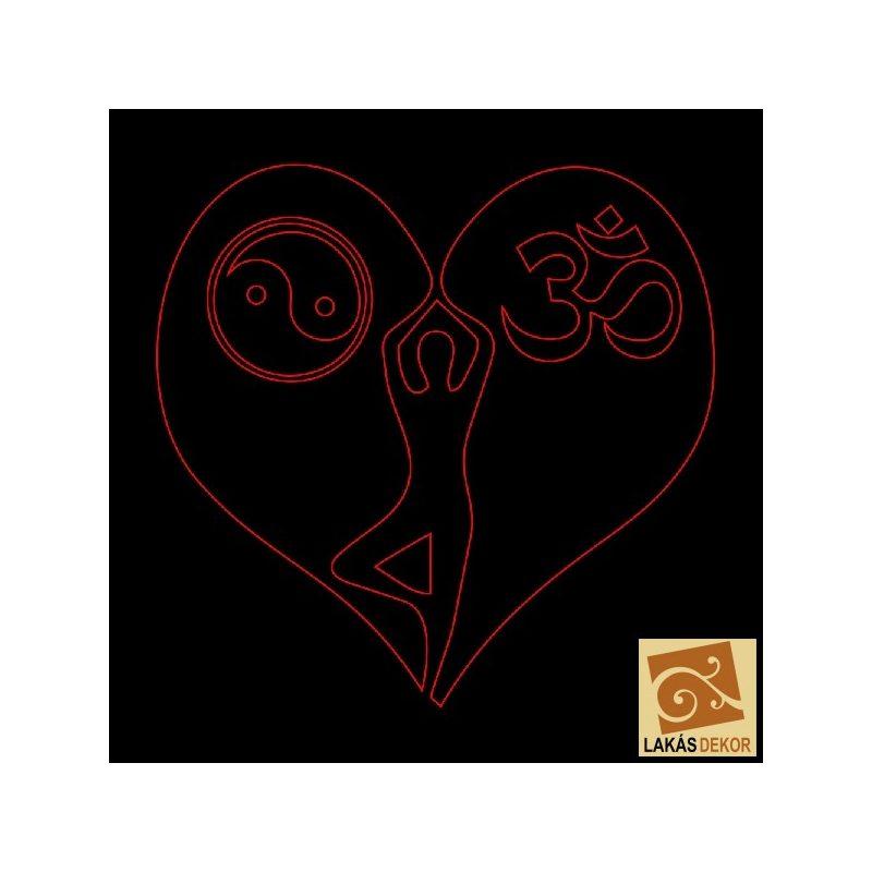 Szívben Yin Yang Om LED tábla 24cmx24cm