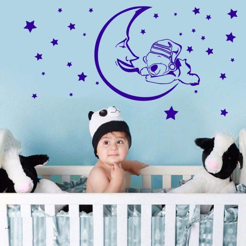 Maci holdon 3 gyerekszoba falmatrica