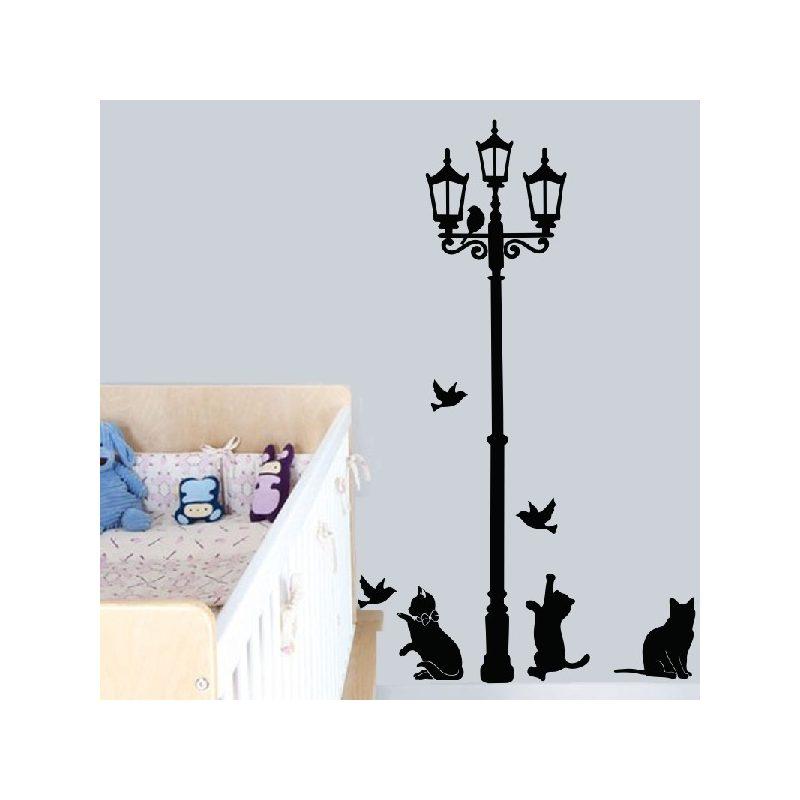 Utcai lámpa macskákkal falmatrica