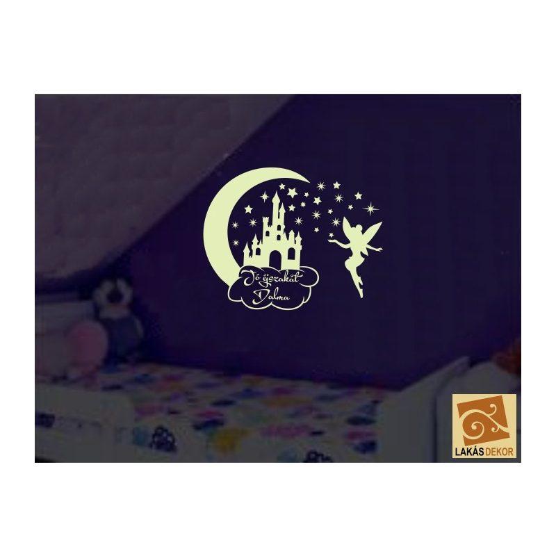 """Tündérke Jó éjszakát... """"Sötétben világít"""" gyerekszoba falmatrica"""