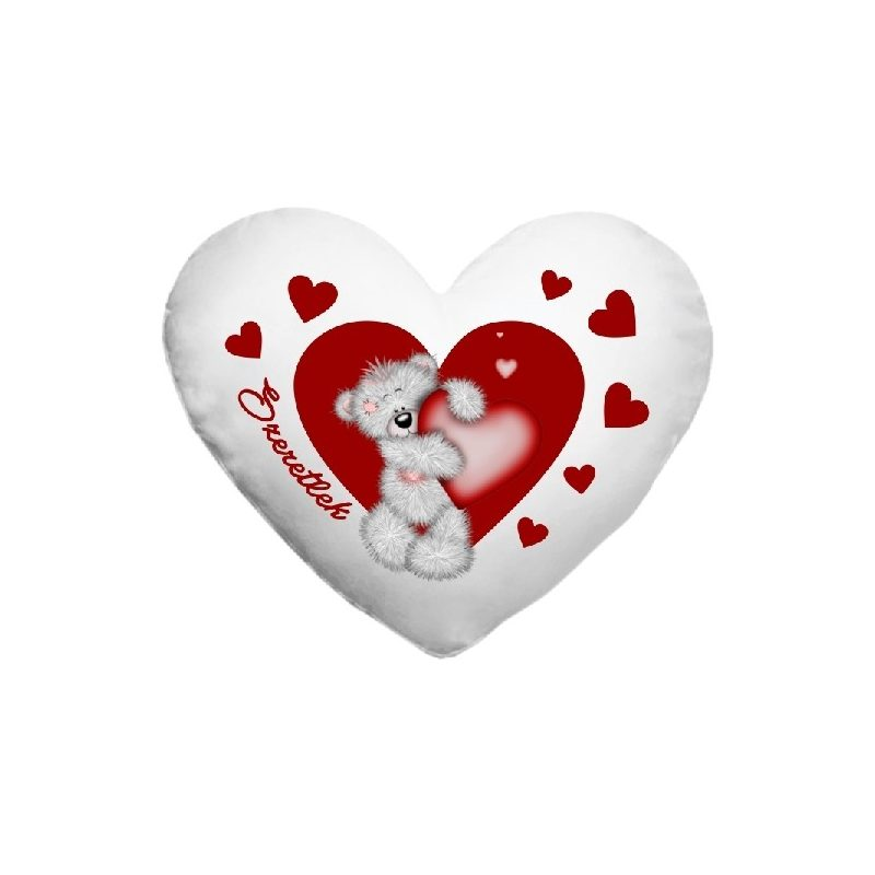 Fényképes párnahuzt, szív alakú macis