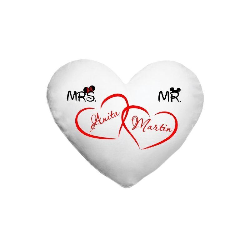 Fényképes párnahuzt, szív alakú, MRS és MR