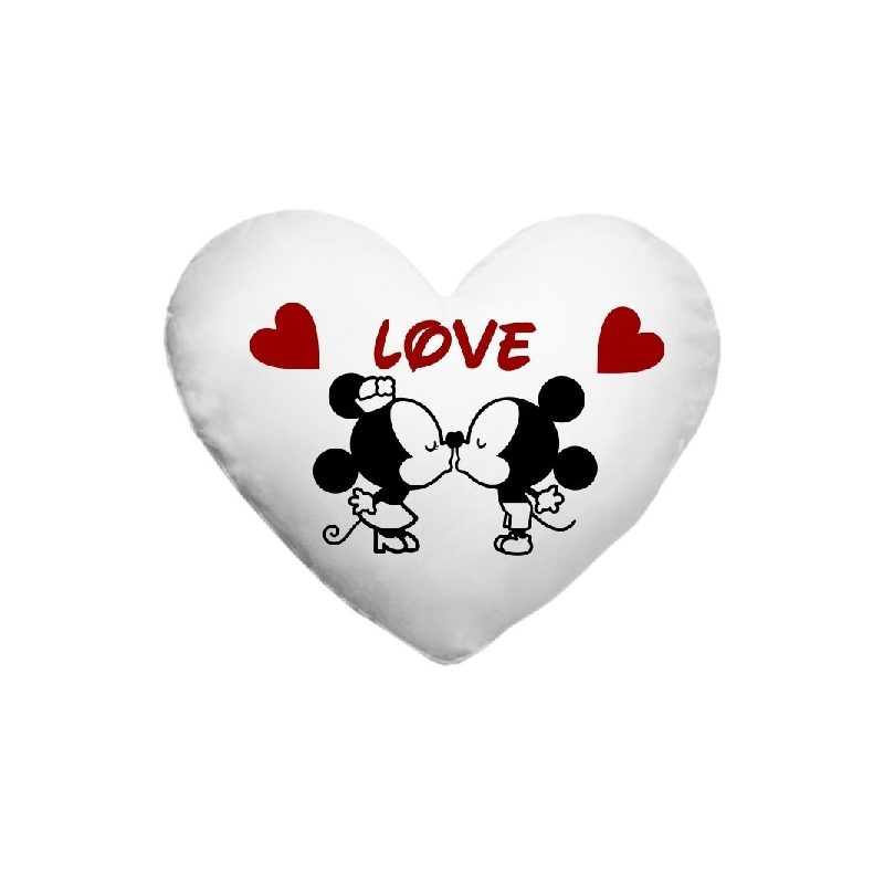 Fényképes párnahuzt, szív alakú Love