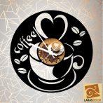Kávés sziluett óra