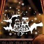 Karácsonyi ablakmatrica 8, baglyok faágon