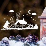 Karácsonyi ablakmatrica 4, havas táj
